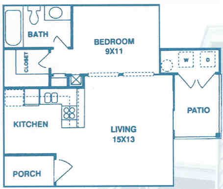 493 sq. ft. EFF floor plan