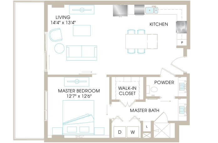 816 sq. ft. A4e floor plan