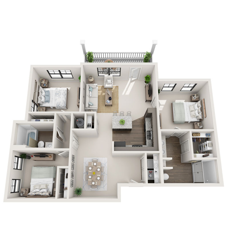 1,354 sq. ft. C1 floor plan