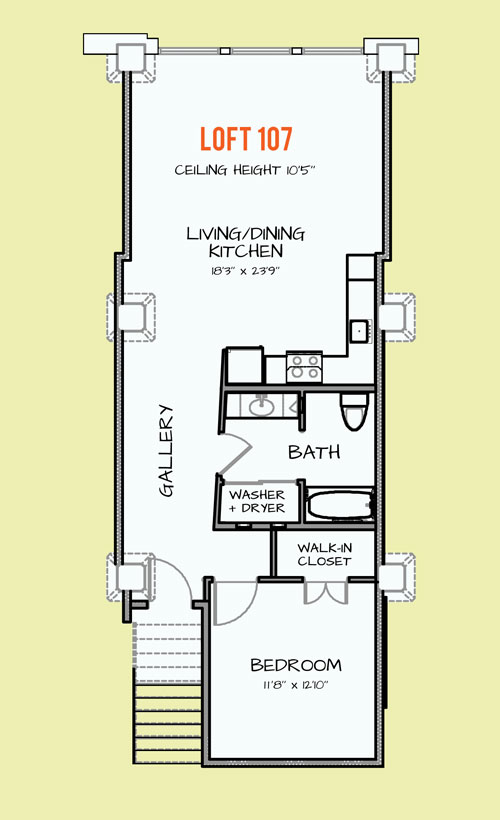 857 sq. ft. 404 floor plan