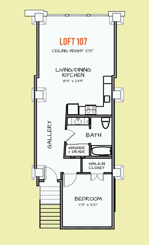 857 sq. ft. 404 floor plan