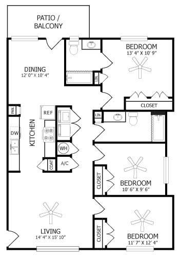 1,239 sq. ft. C1/De Lat Rose floor plan