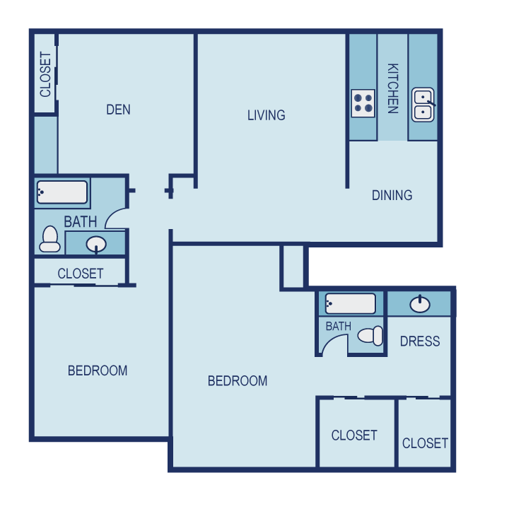 1,370 sq. ft. E1U floor plan