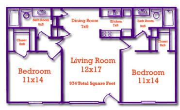 974 sq. ft. floor plan