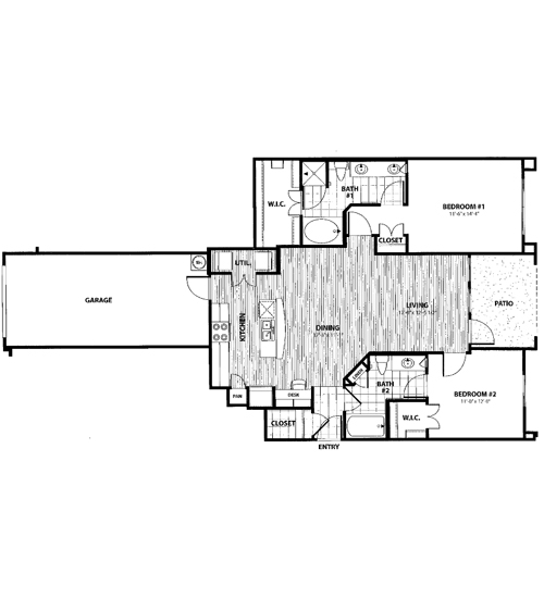 1,216 sq. ft. K1 floor plan