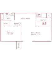 610 sq. ft. A floor plan