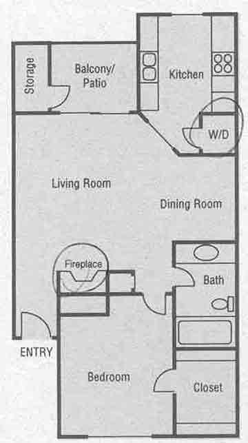 619 sq. ft. A1-A4 floor plan