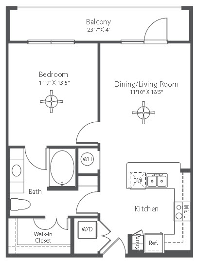 694 sq. ft. A1 floor plan