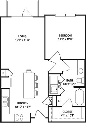 707 sq. ft. to 743 sq. ft. A1 floor plan