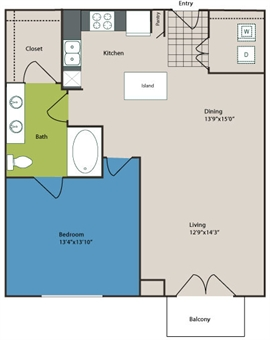 784 sq. ft. to 961 sq. ft. A3 floor plan