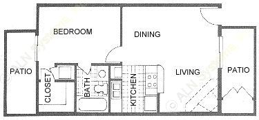 540 sq. ft. B1 floor plan