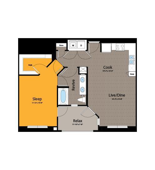 797 sq. ft. A5 floor plan