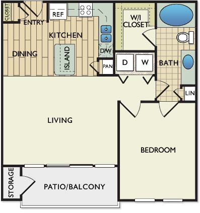 756 sq. ft. DA VINCI floor plan