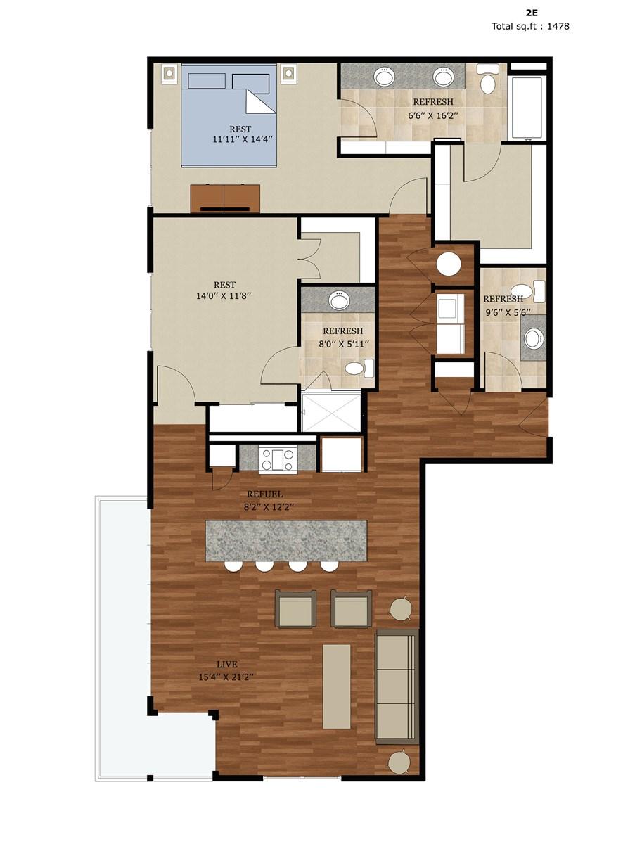 1,478 sq. ft. 2E floor plan