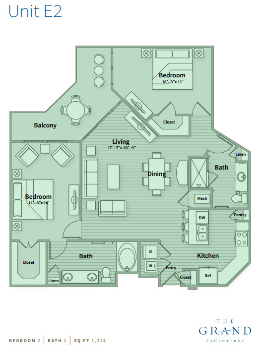 1,224 sq. ft. E2 floor plan