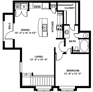 899 sq. ft. A8 floor plan