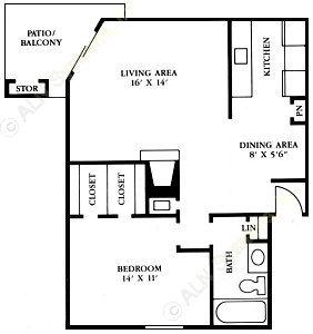 665 sq. ft. A2 floor plan