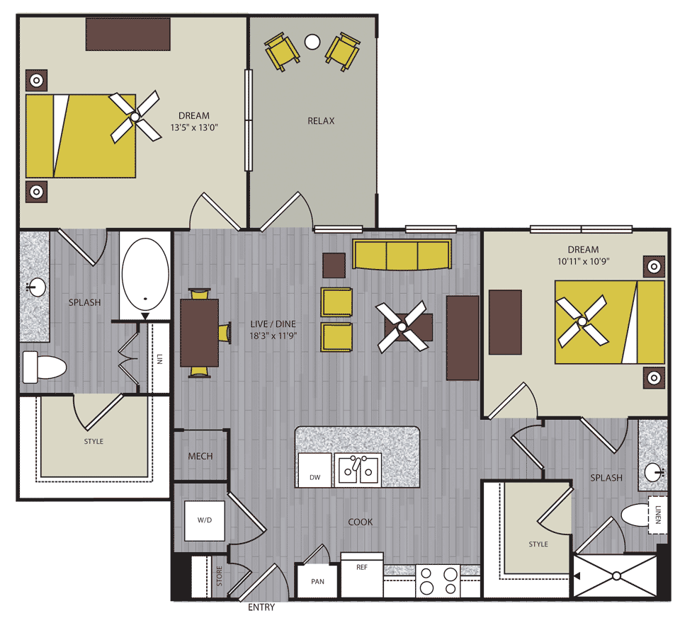1,041 sq. ft. to 1,042 sq. ft. B1 floor plan