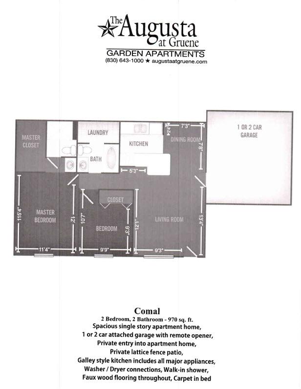 970 sq. ft. Comal floor plan
