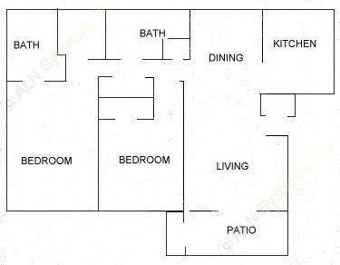 988 sq. ft. B floor plan