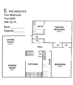 986 sq. ft. Hemlock floor plan