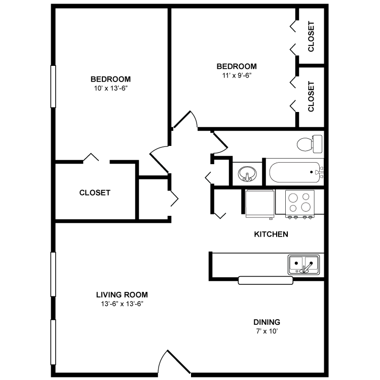 838 sq. ft. Magnolia floor plan