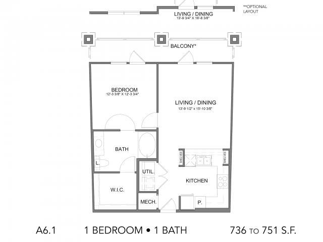 736 sq. ft. A6.1 floor plan