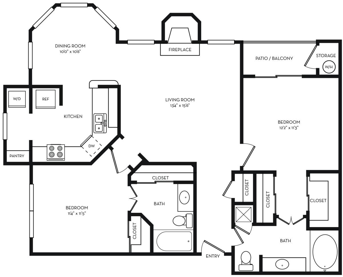1,104 sq. ft. B1 floor plan