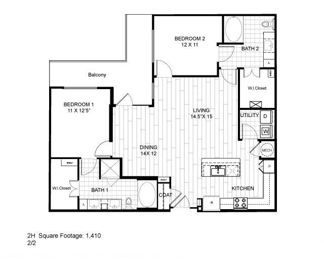 1,410 sq. ft. 2H floor plan
