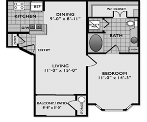 678 sq. ft. A1 floor plan