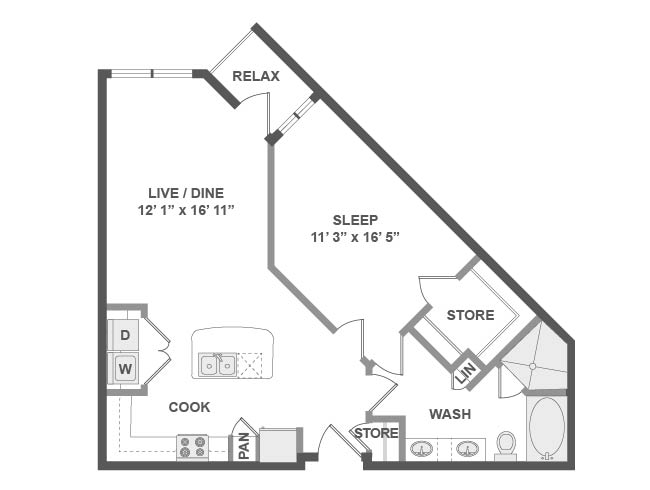 805 sq. ft. A4 floor plan