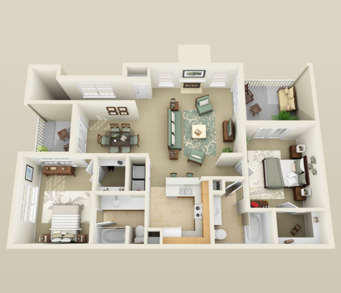 1,184 sq. ft. B2 floor plan