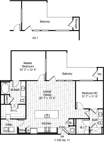 1,199 sq. ft. B4 floor plan