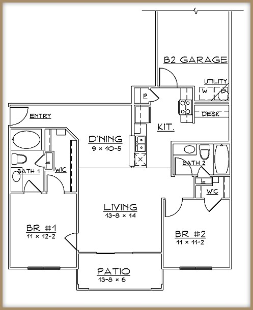 1,013 sq. ft. B2/60% floor plan