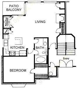 803 sq. ft. A1 floor plan