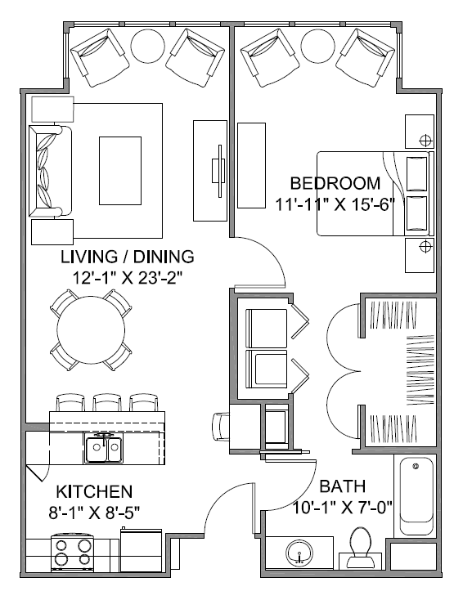 793 sq. ft. Avenue F 60 floor plan