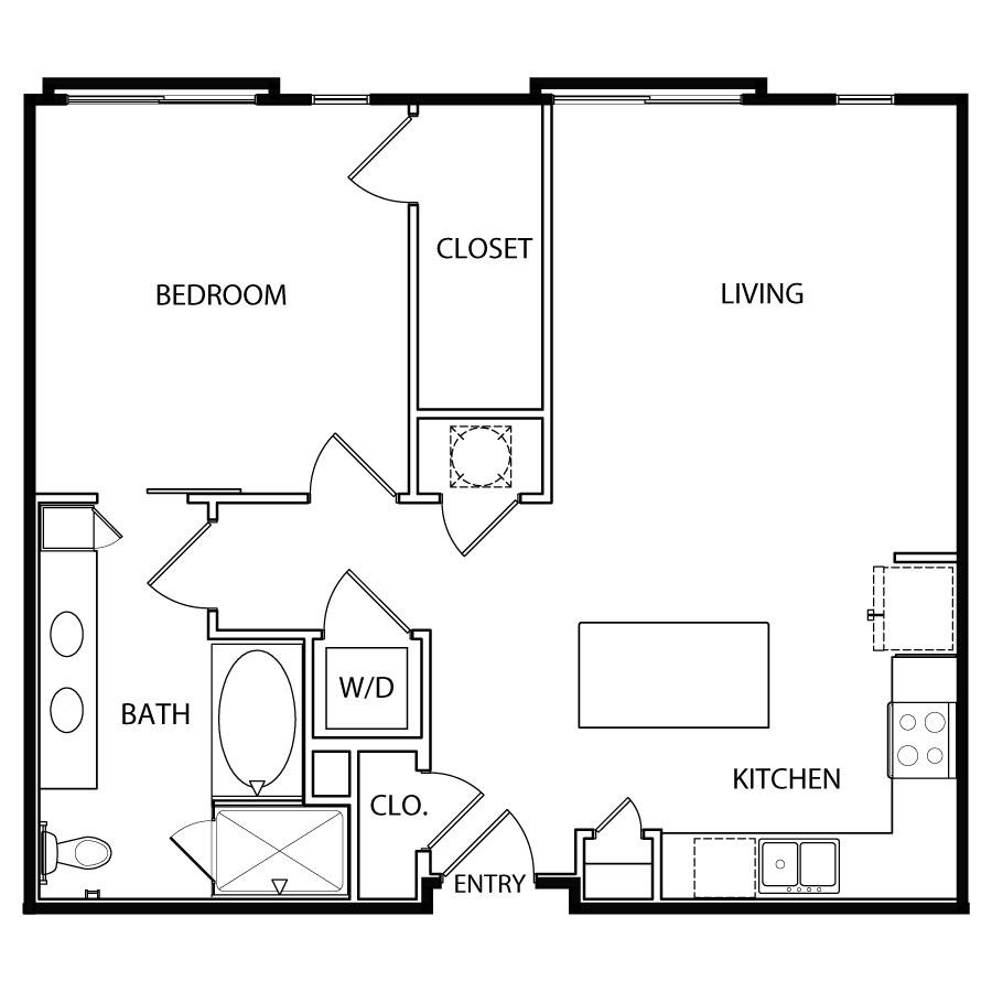 841 sq. ft. A8 floor plan