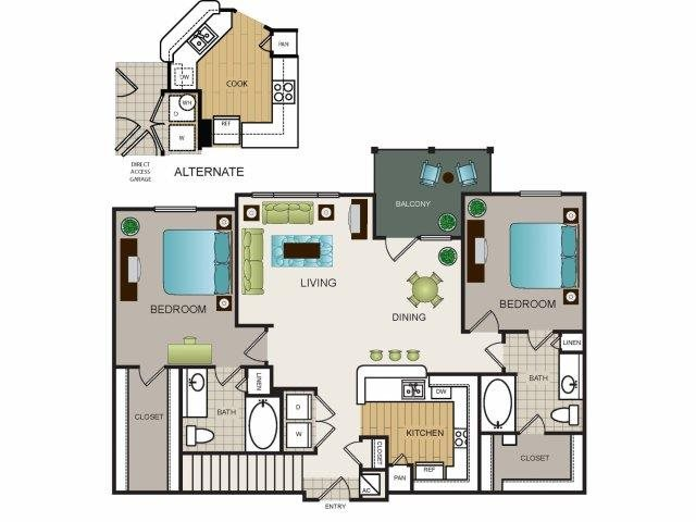 1,197 sq. ft. B3 floor plan