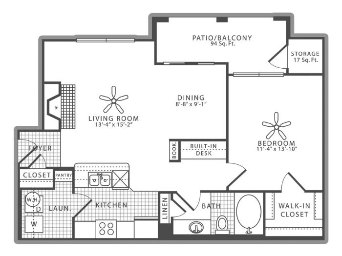 803 sq. ft. A2 floor plan