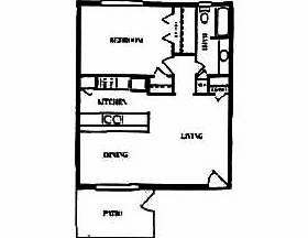 640 sq. ft. floor plan