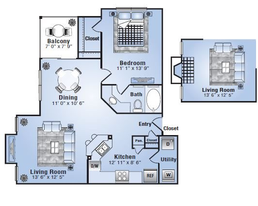 768 sq. ft. Amarillo floor plan