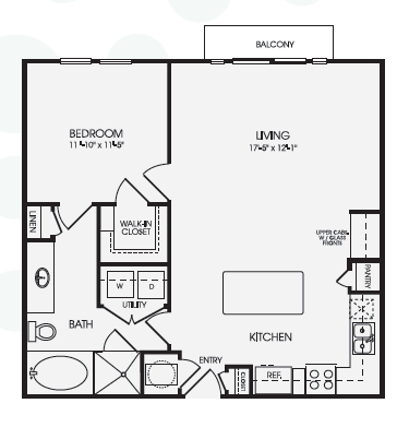 849 sq. ft. Leighton/A12 floor plan