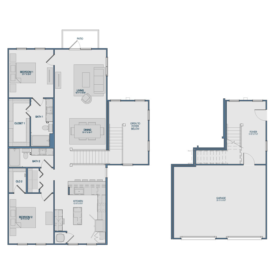 1,625 sq. ft. B13 floor plan
