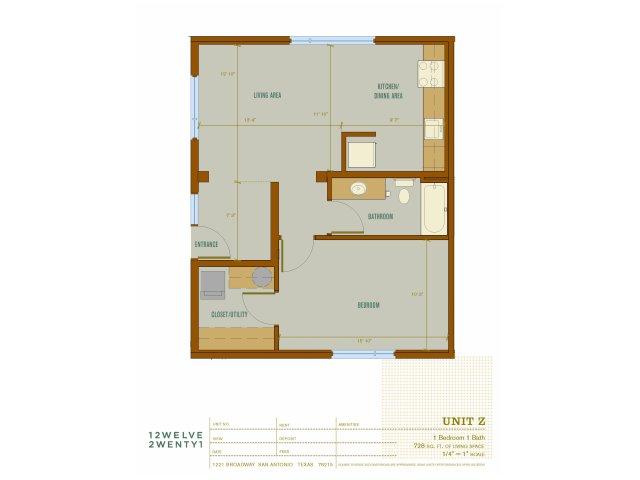 728 sq. ft. Z floor plan