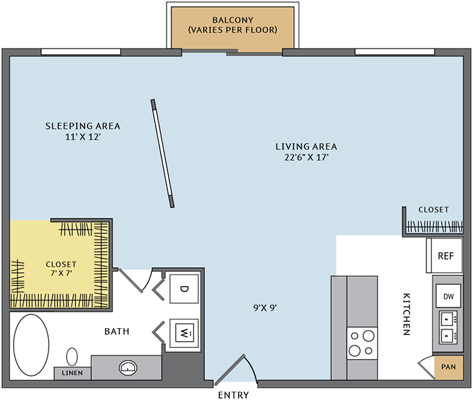 877 sq. ft. 11L floor plan