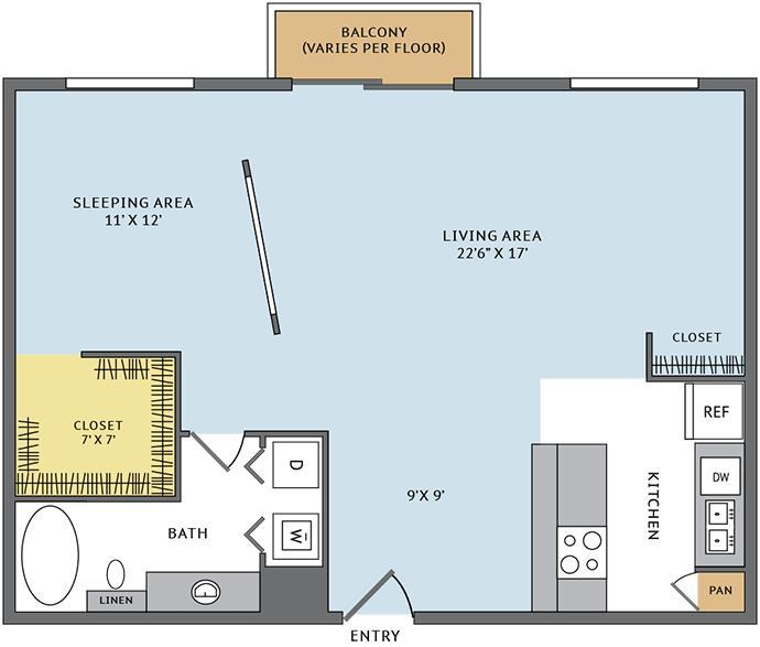 877 sq. ft. 11L floor plan