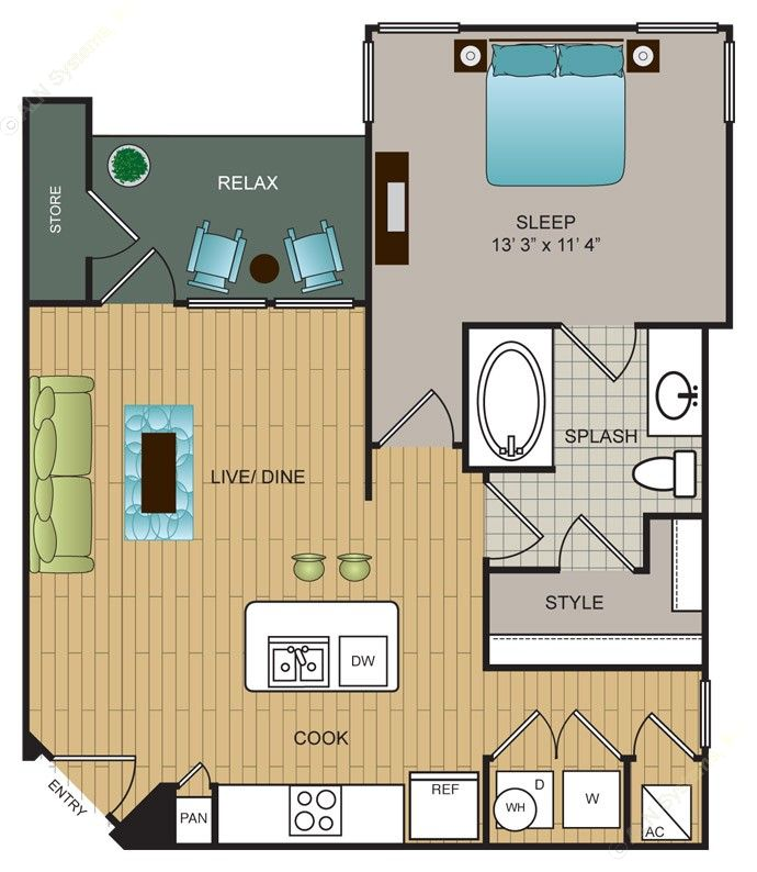 691 sq. ft. A7 floor plan