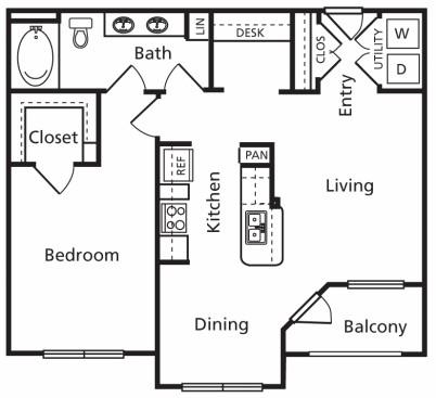 812 sq. ft. B floor plan