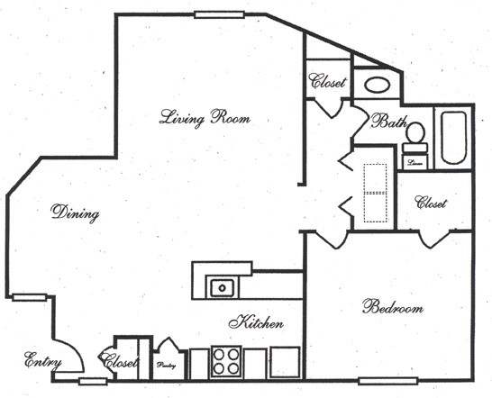 831 sq. ft. AB floor plan