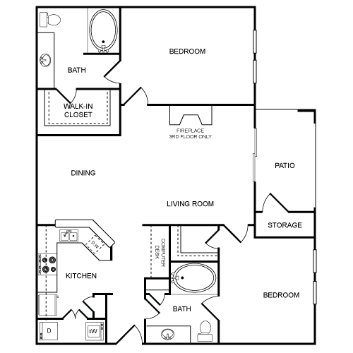 1,089 sq. ft. Carson Hill floor plan